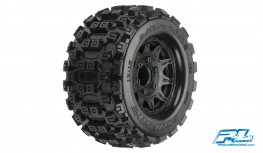 "PRO-LINE BADLANDS MX28 2.8"" ALL TERRAIN TIRES MOUNTED FOR STAMPEDE/RUSTLER 2WD & 4WD FRONT AND REAR, MOUNTED ON RAID BLACK 6X30 REMOVABLE HEX WHEELS"