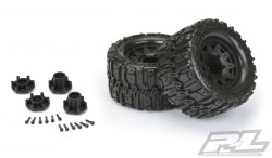 "PRO-LINE TRENCHER HP 2.8"" ALL TERRAIN BELTED TRUCK TIRES MOUNTED FOR STAMPEDE 2WD & 4WD F&R, MOUNTED ON RAID BLACK 6X30 REMOVABLE HEX WHEELS"