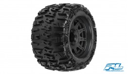 "PROLINE TRENCHER X 3.8"" ALL TERRAIN TIRES 17MM MT F&R, MOUNTED ON RAID BLACK 8X32 REMOVABLE HEX 17MM WHEELS (2PCS)"