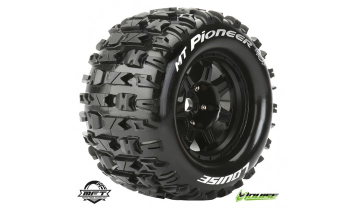 L-T3321BH - LOUISE RC - MFT - MT-PIONEER - 1-8 MONSTER TRUCK TIRE SET - MOUNTED - SPORT - BLACK 3.8 BEAD STYLE WHEELS - 1/2-OFFSET - HEX 17MM