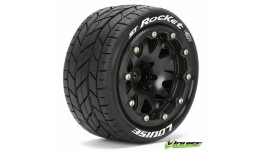 LR-T3311SB - LOUISE MFT 1/10 ST-ROCKET TRUCK TIRE SOFT / 0 OFFSET BEAD-LOCK BLACK RIM HEX 12MM / MOUNTED