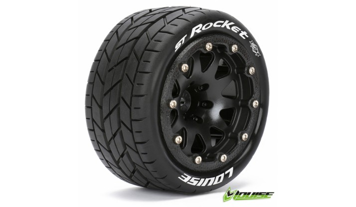 LR-T3311SBH - LOUISE RC MFT 1/10 ST-ROCKET TRUCK TIRE SOFT / 1/2 OFFSET BEAD-LOCK BLACK RIM HEX 12MM / MOUNTED