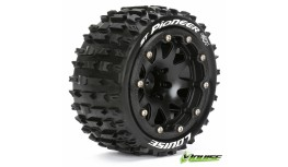 L-T3312SBH - LOUISE RC MFT ST-PIONEER 1:10 MONSTER TRUCK TIRE SET MOUNTED SPORT BLACK 2.8 BEAD-LOCK WHEELS 1/2-OFFSET HEX 12MM