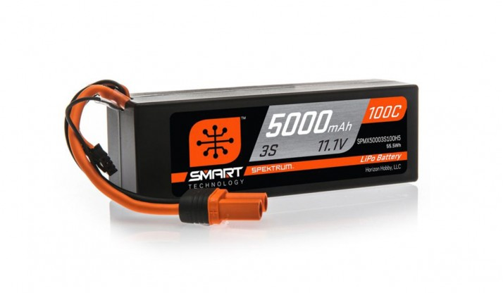 SPEKTRUM 11.1V 5000MAH 3S 100C SMART LIPO, HARDCASE, IC5