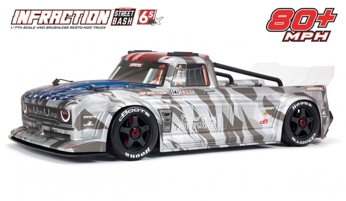 ARRMA INFRACTION STREET BASH 6S BLX V2 1/7 ALL-ROAD RESTO-MOD TRUCK W/HAND BRAKE RTR (SILVER)